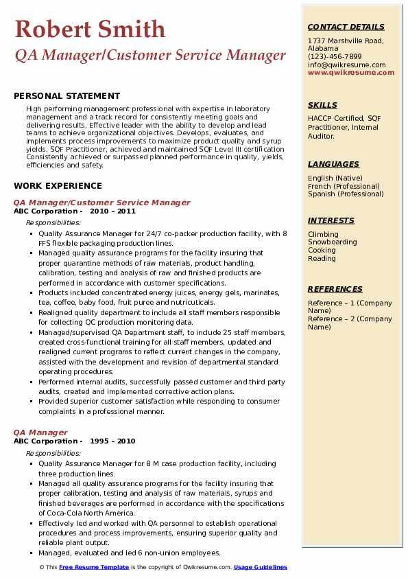 QA Manager/Customer Service Manager Resume Sample