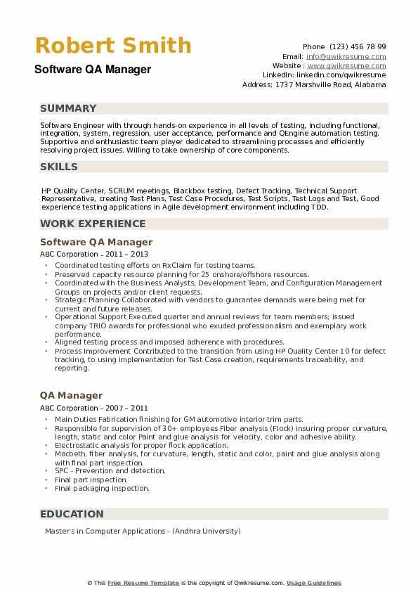 qa manager resume samples