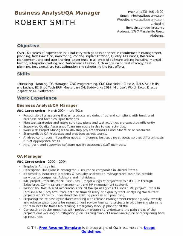 Business Analyst/QA Manager Resume Template