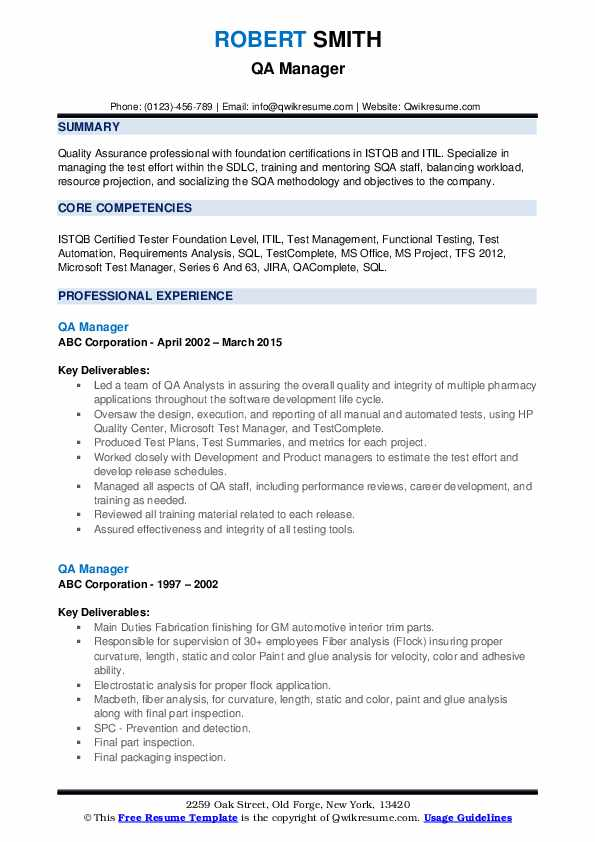 Qa Manager Resume Samples Qwikresume