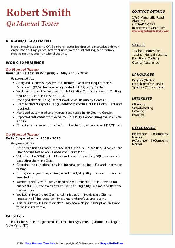 qa manual tester resume samples