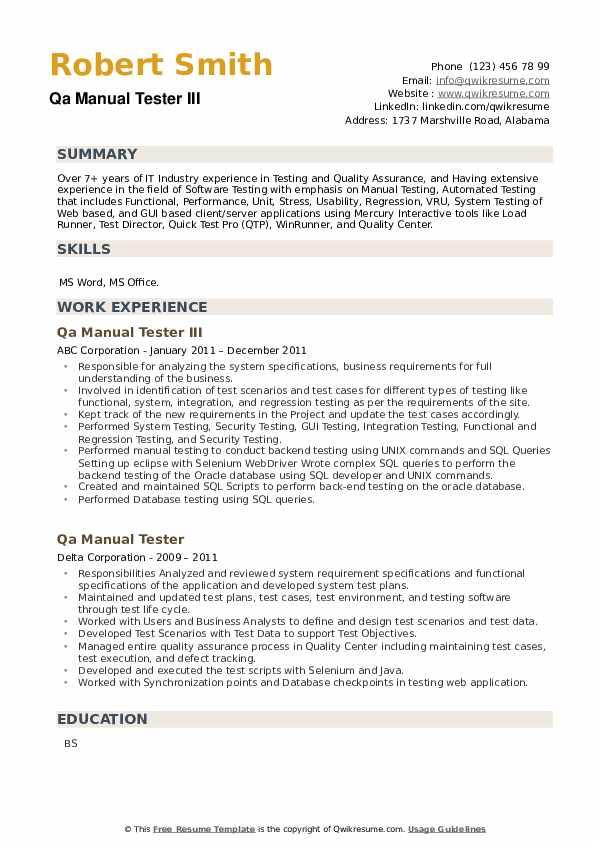 Qa Manual Tester Resume example
