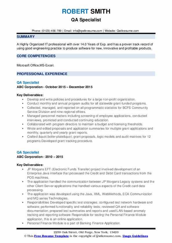 QA Specialist Resume example