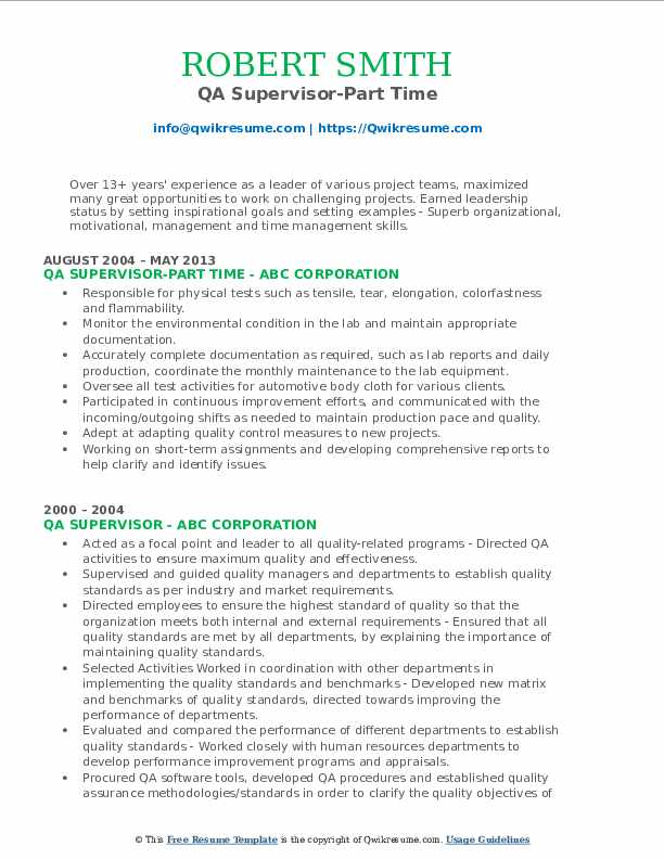 QA Supervisor-Part Time Resume Example