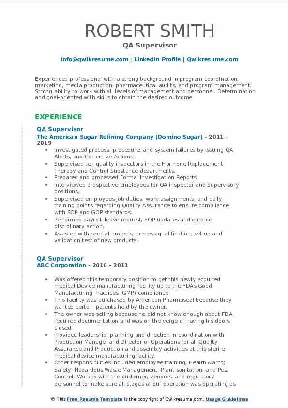 QA Supervisor Resume example