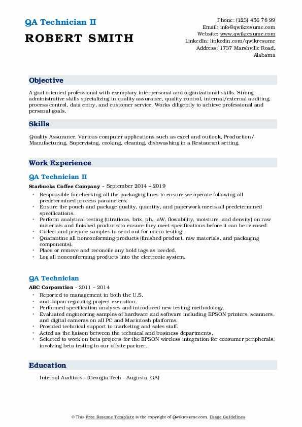 qa technician resume samples  qwikresume