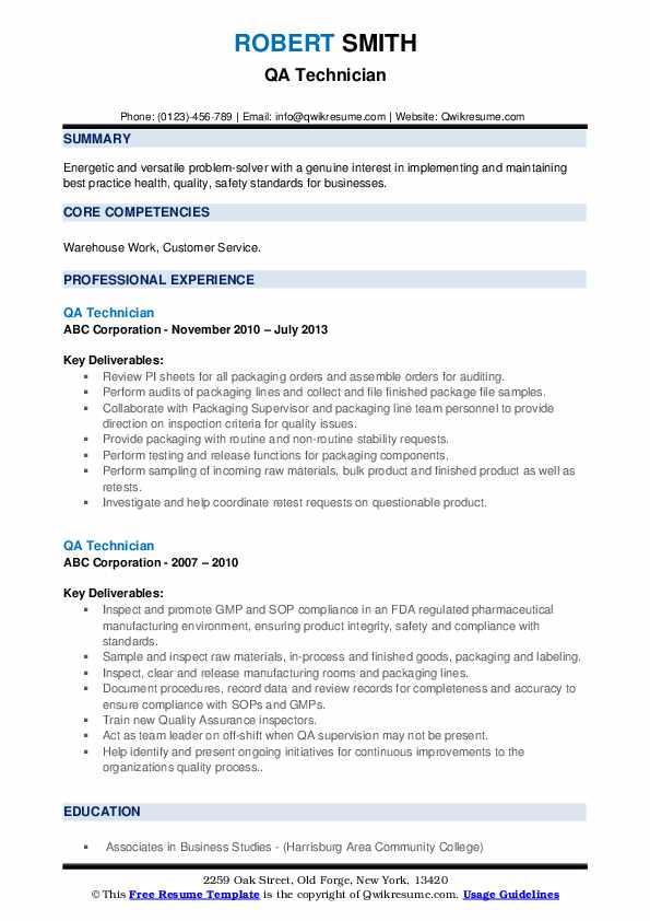 QA Technician Resume example