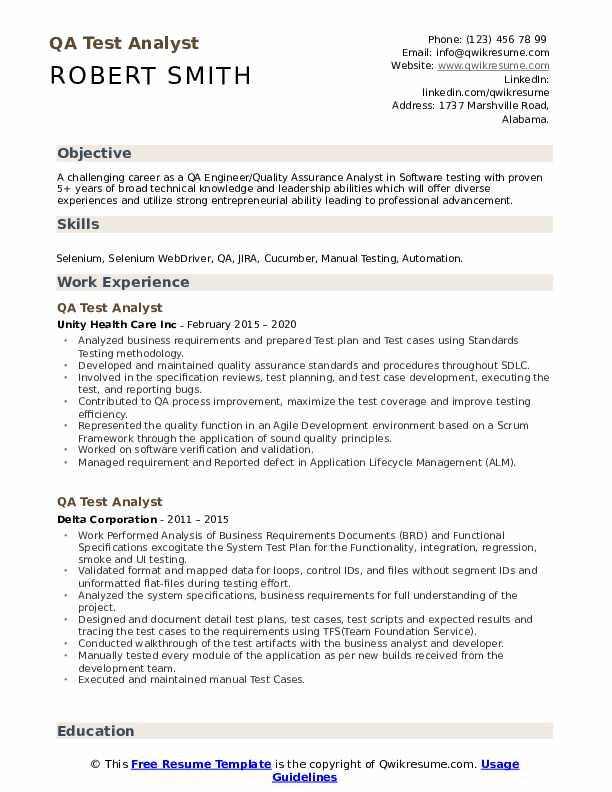 qa test analyst resume samples  qwikresume