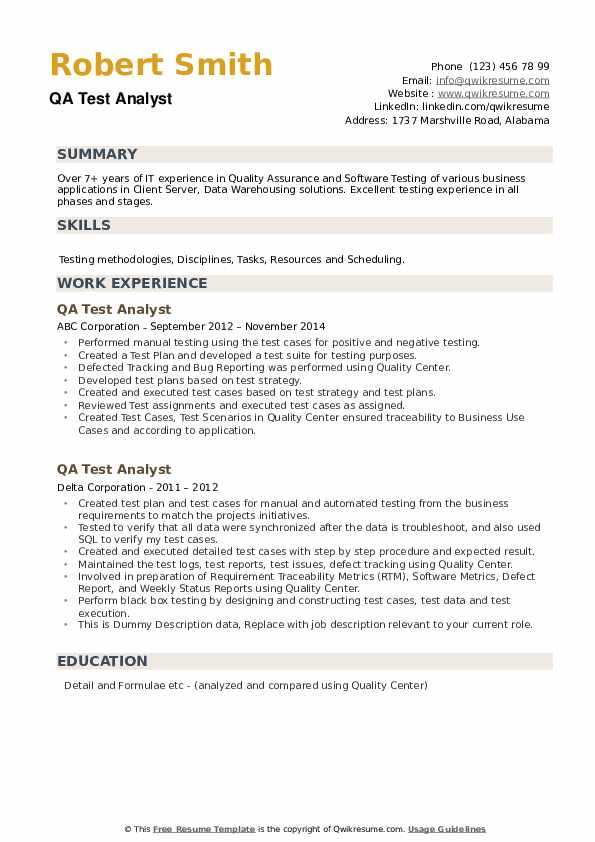 QA Test Analyst Resume example