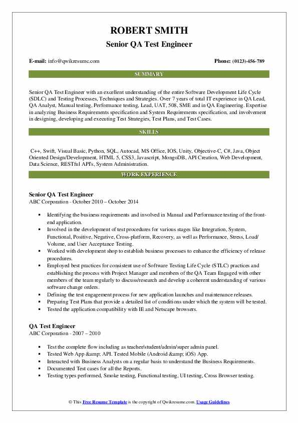Qa Test Engineer Resume Samples Qwikresume