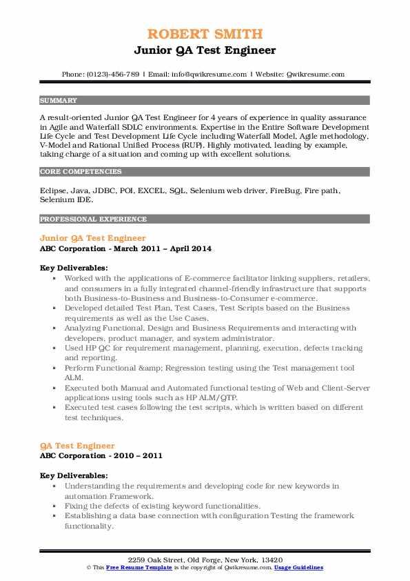 qa test engineer resume samples  qwikresume