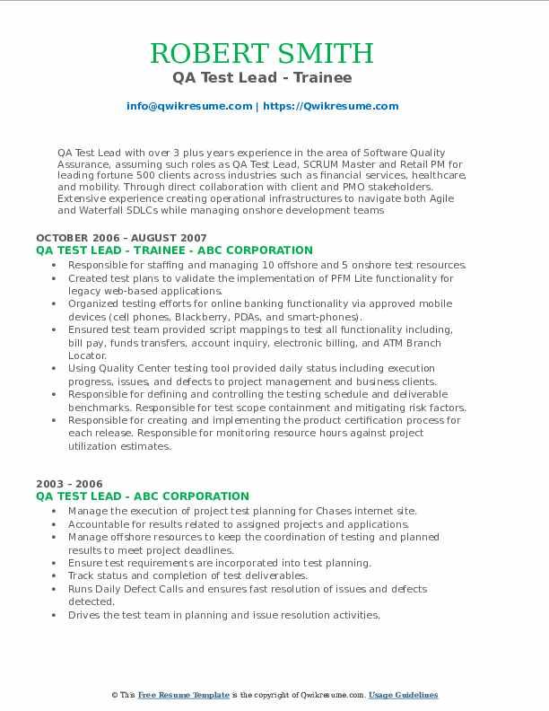 qa test lead resume samples