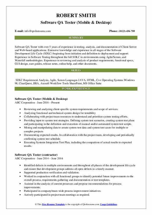 Software QA Tester (Mobile & Desktop) Resume Template