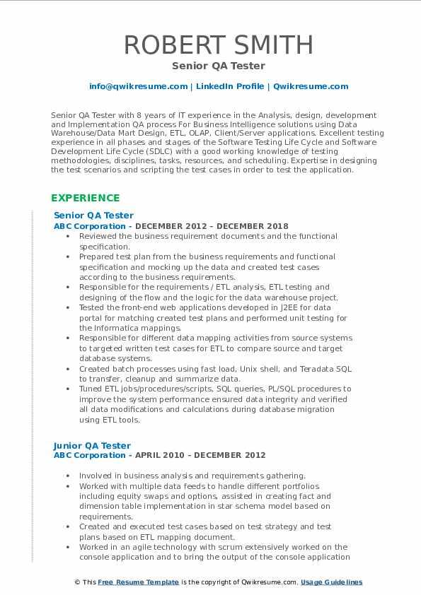 Senior QA Tester Resume Sample