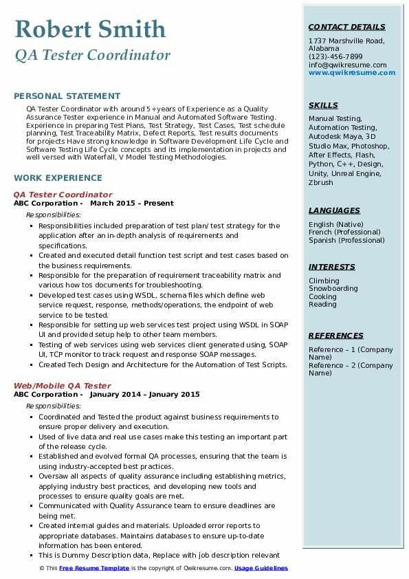 QA Tester Coordinator Resume Template