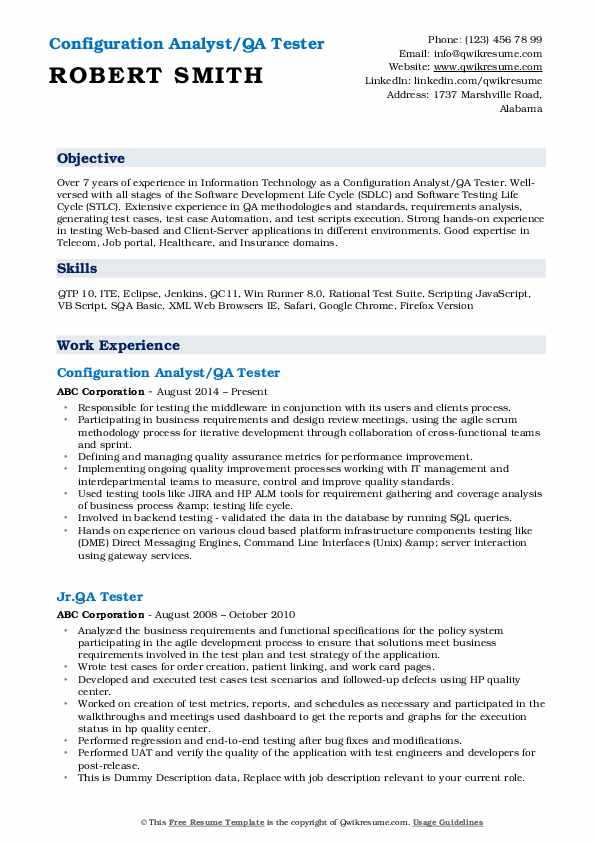 Configuration Analyst/QA Tester Resume Example