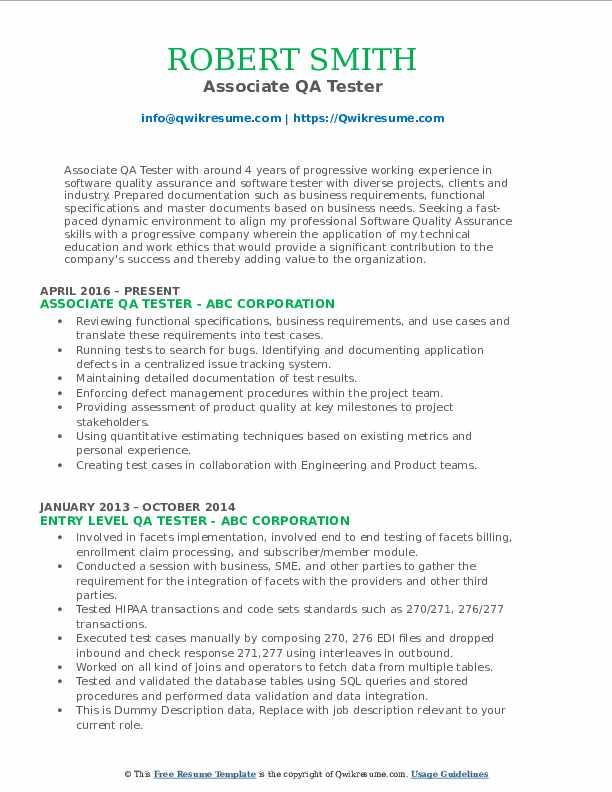 Associate QA Tester Resume Sample