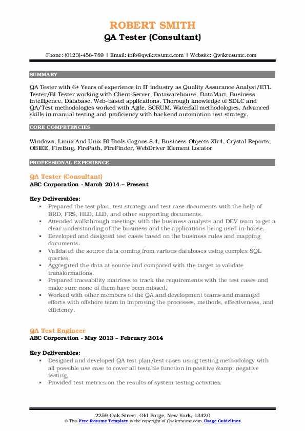 QA Tester (Consultant) Resume Example