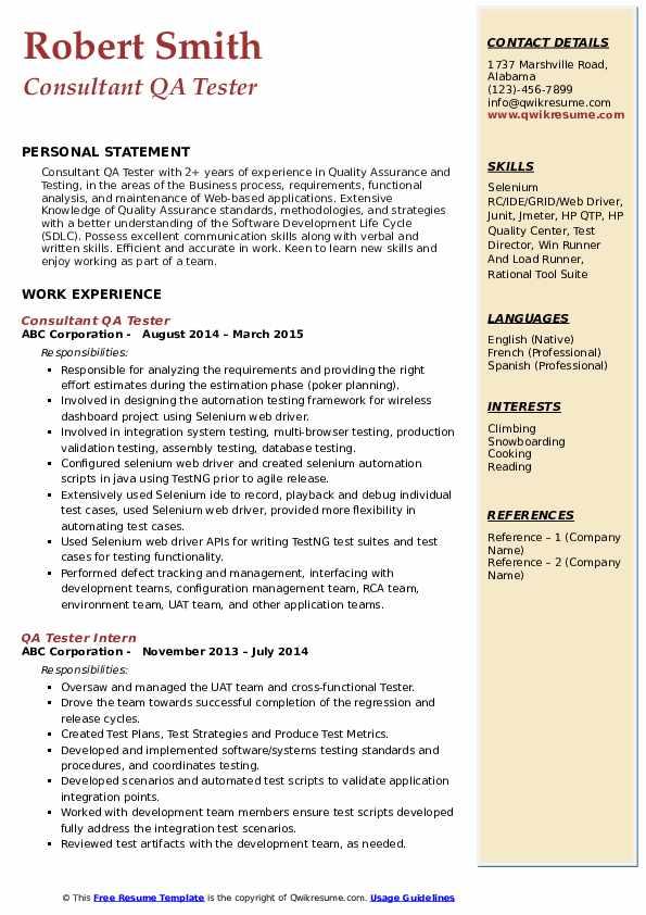 Consultant QA Tester Resume Format