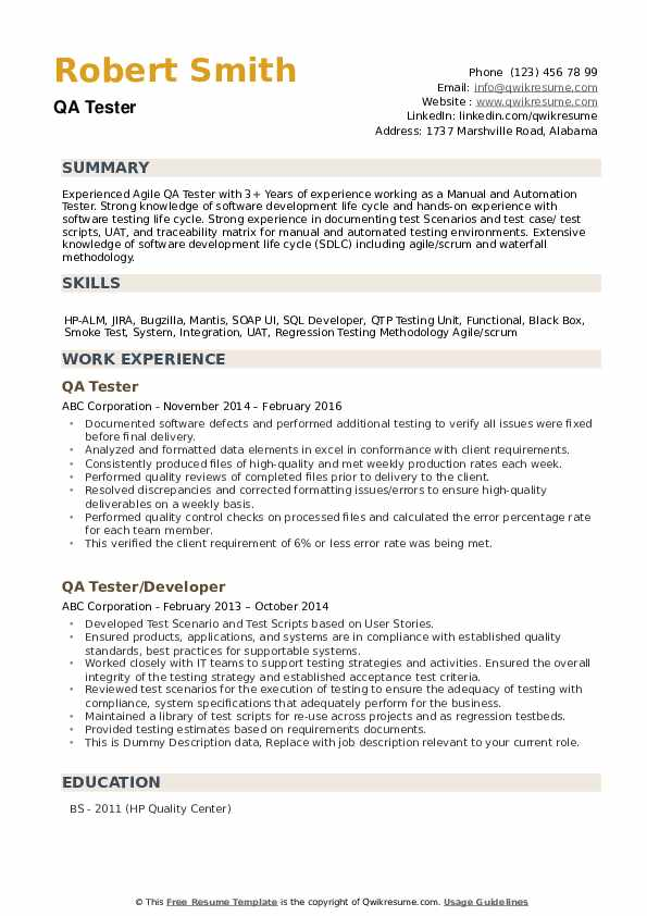Qa Tester Resume Samples Qwikresume