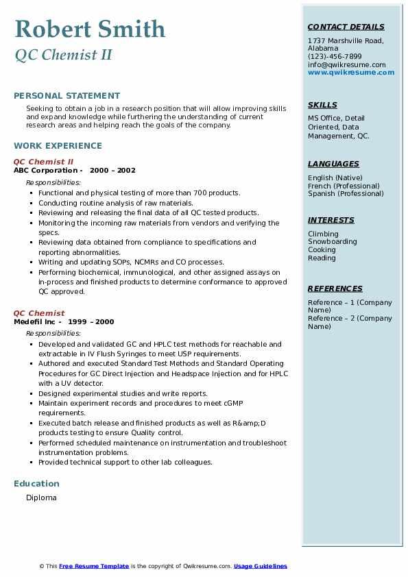 qc chemist resume samples