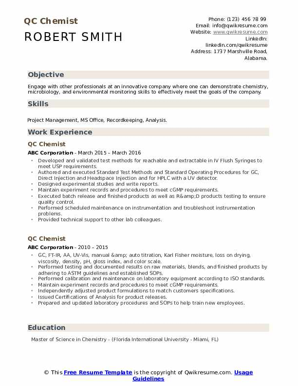QC Chemist Resume example