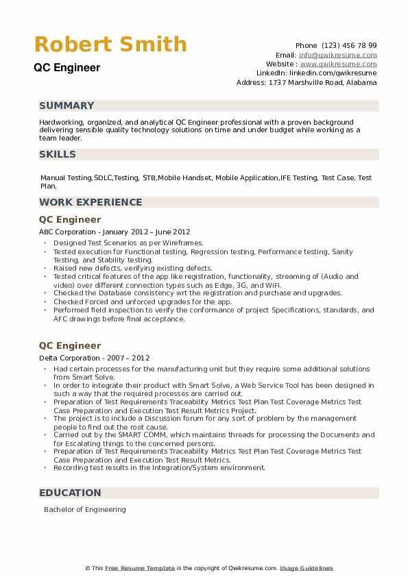 QC Engineer Resume example