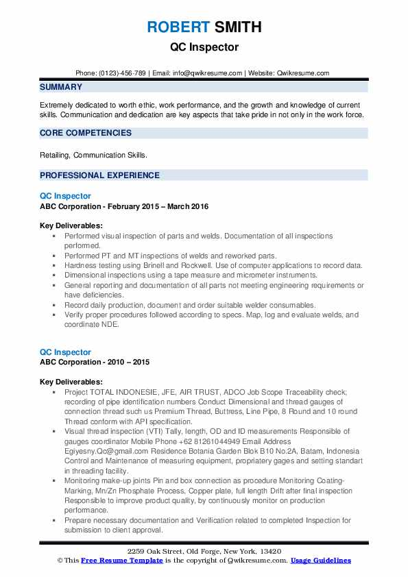 QC Inspector Resume example