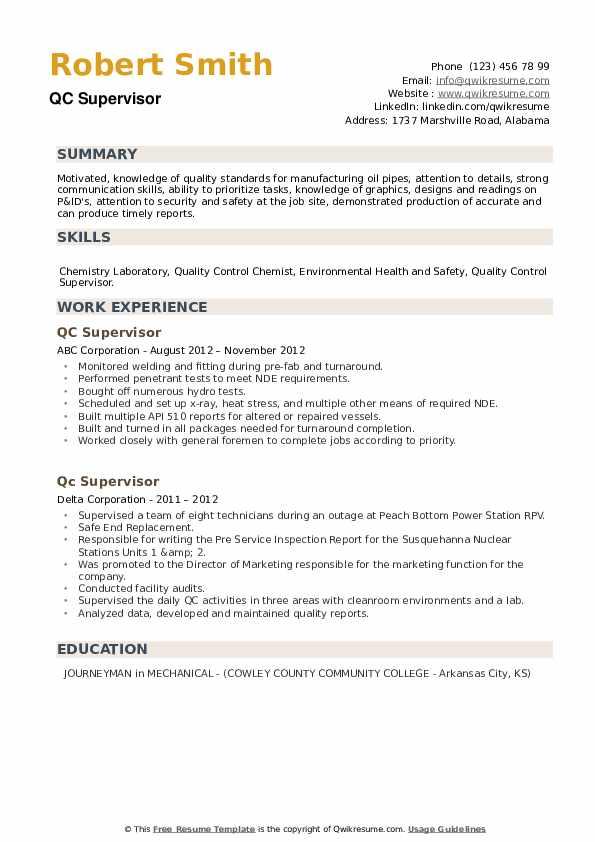 QC Supervisor Resume example