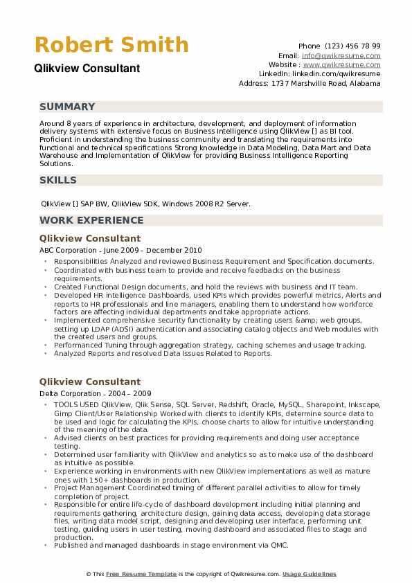 Qlikview Consultant Resume example