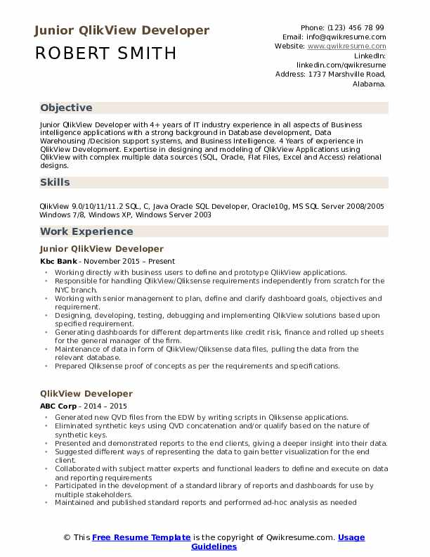 Qlikview Developer Resume Samples | QwikResume