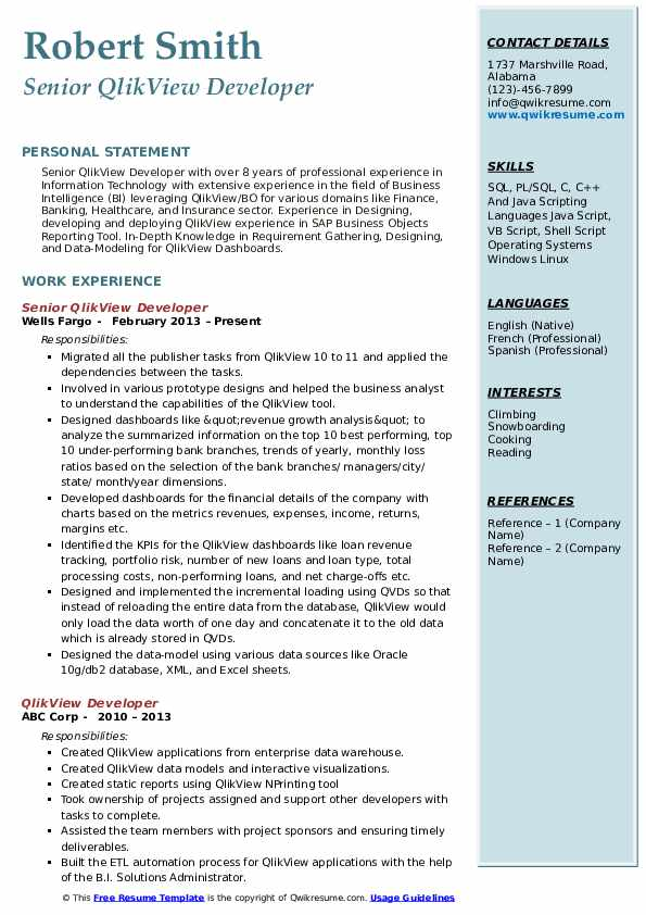 Qlikview Developer Resume Samples | QwikResume