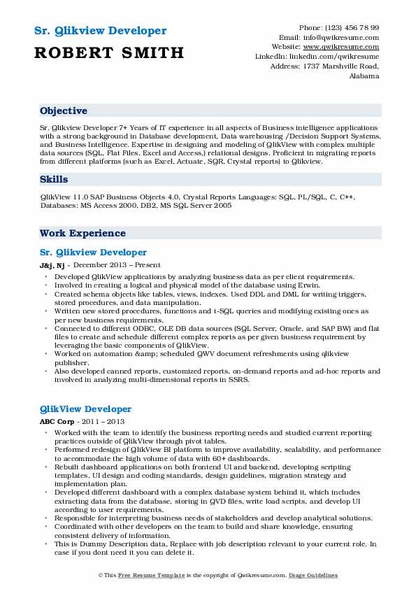 qlikview developer resume samples