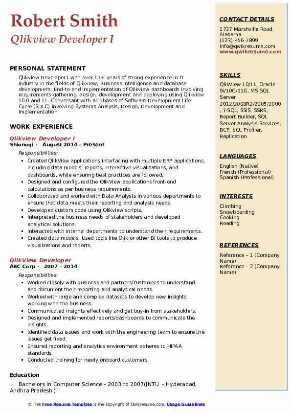 Qlikview Developer I Resume Format