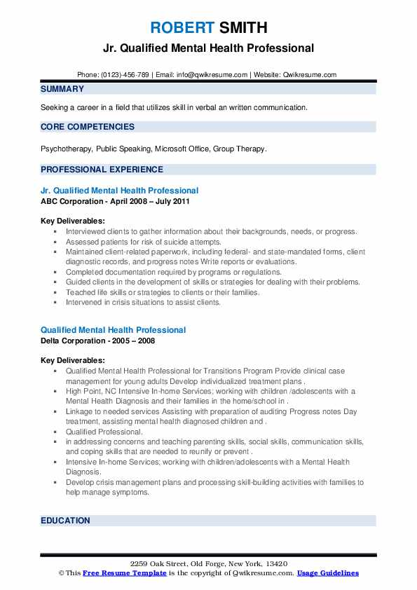 qualified mental health professional resume samples