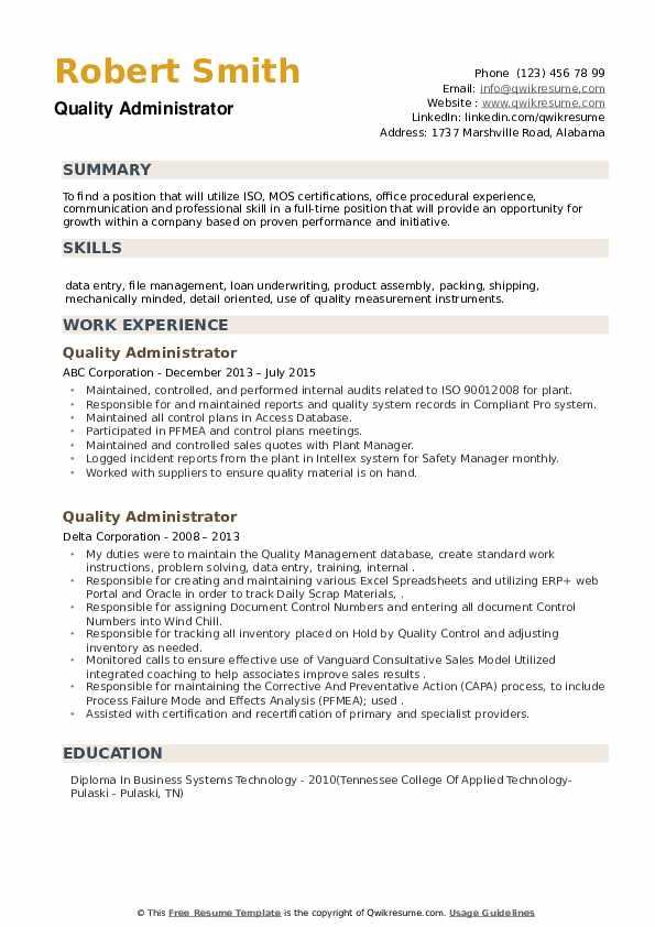 Quality Administrator Resume example