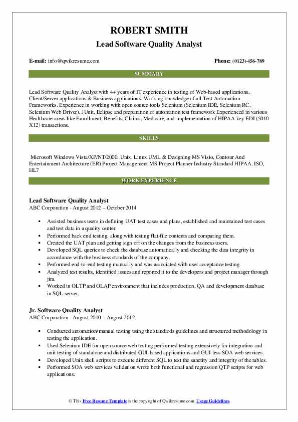 Lead Software Quality Analyst Resume Sample