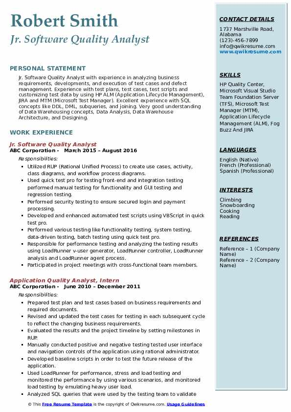 Jr. Software Quality Analyst Resume Model