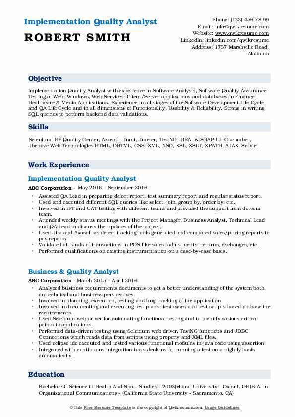 Implementation Quality Analyst Resume Example
