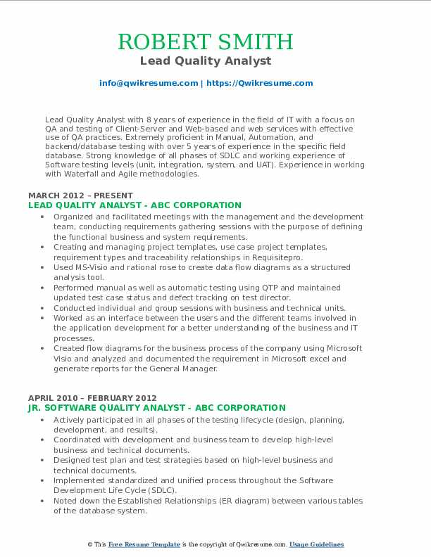 Lead Quality Analyst Resume Format