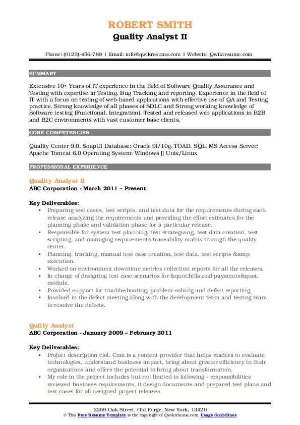 Quality Analyst II Resume Example
