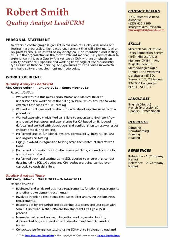 Quality Analyst Lead/CRM Resume Example