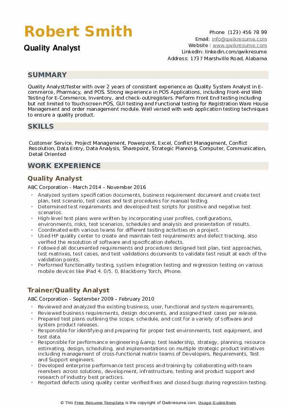 Quality Analyst Resume example
