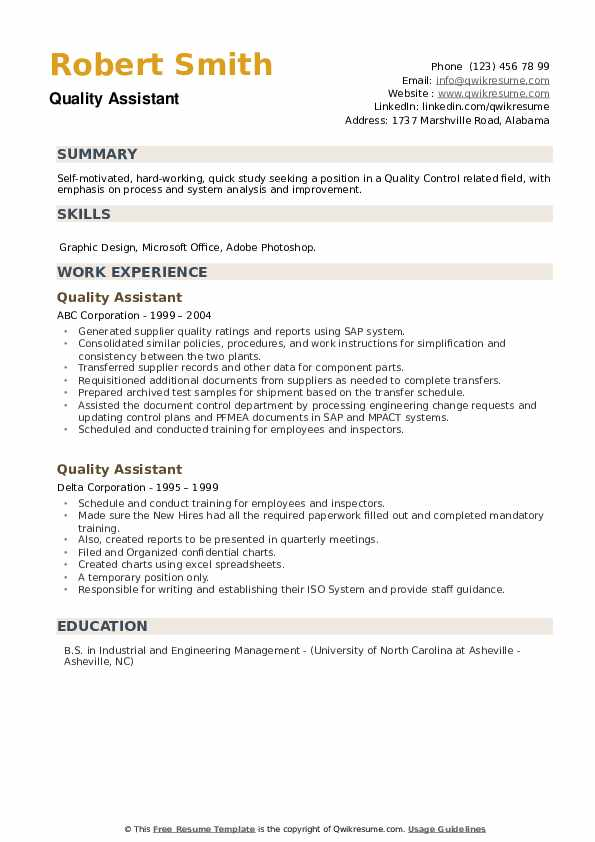 Quality Assistant Resume example