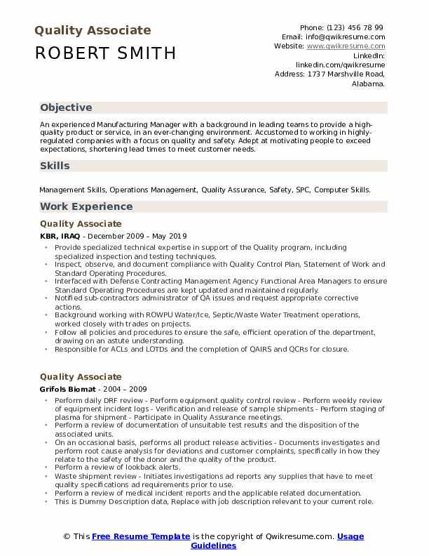 Quality Associate Resume Template