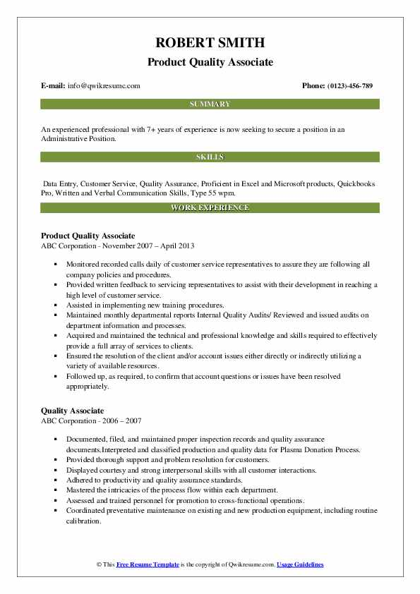 Product Quality Associate Resume Example