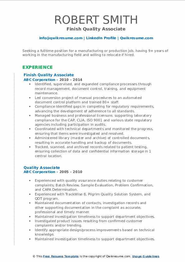 Finish Quality Associate Resume Model