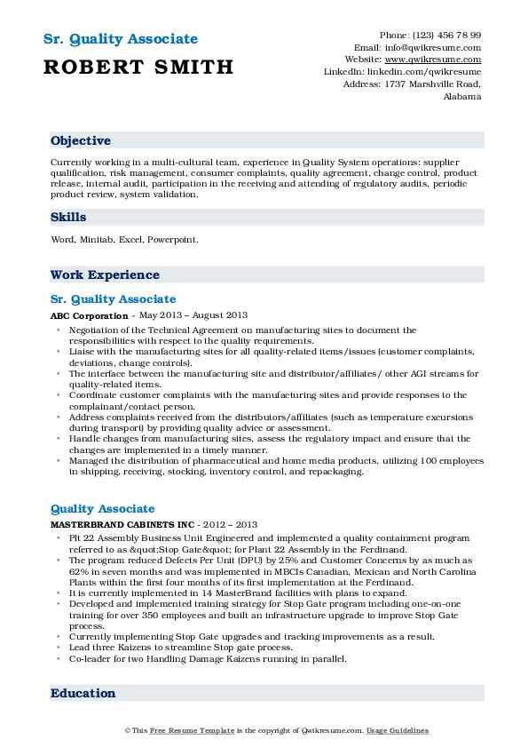 Sr. Quality Associate Resume Example