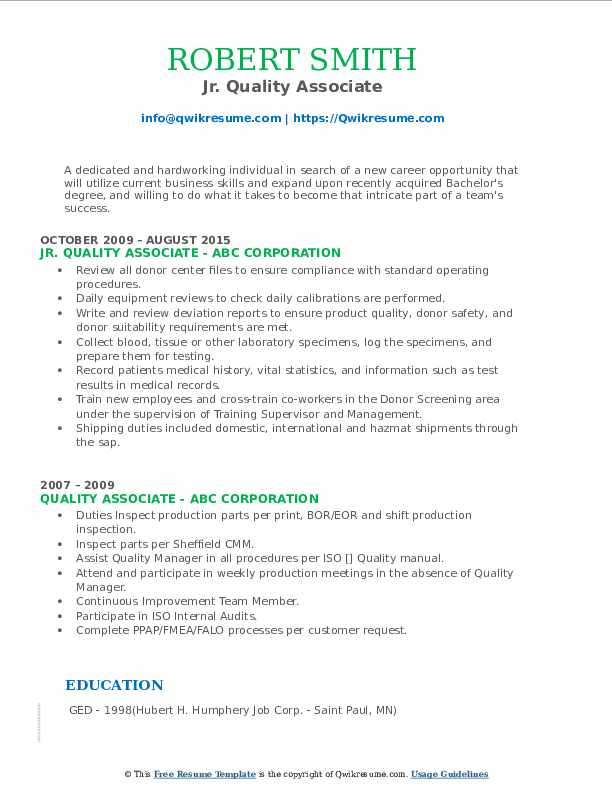 Jr. Quality Associate Resume Template