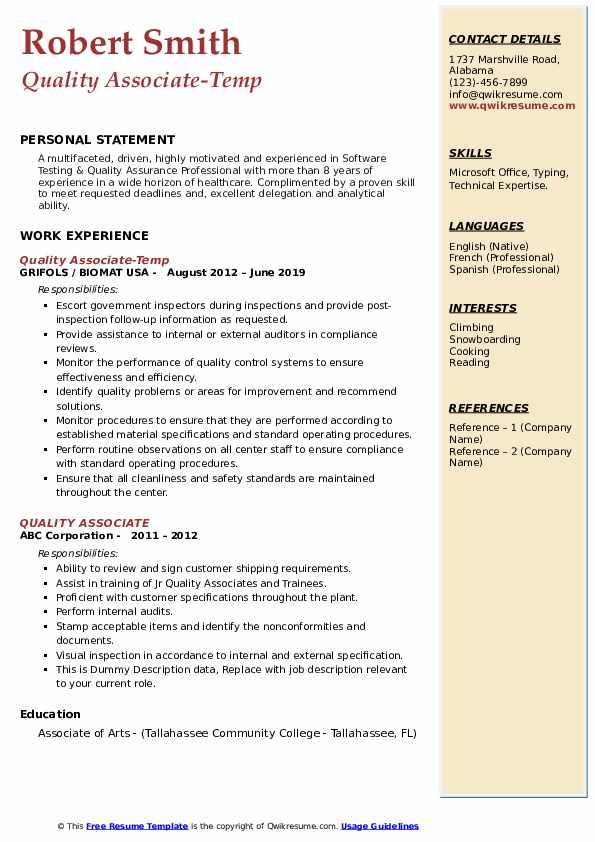Quality Associate-Temp Resume Example